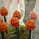 EAMBRITE UL Approved 4PK 20LT Clear Bulbs Halloween Pumpkin Pathway Markers End-connectable Lights Outdoor Garden Creepy Stakes Light for Halloween Party Decoration
