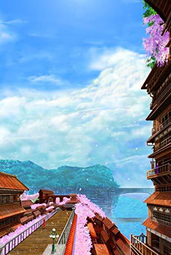 Mural Puzzle Rompecabezas para Adultos, Rompecabezas De 5000 Piezas, Flor De Cerezo, Torre Pequeña, Juguete De Regalo, La Mejor Decoración del Hogar DIY