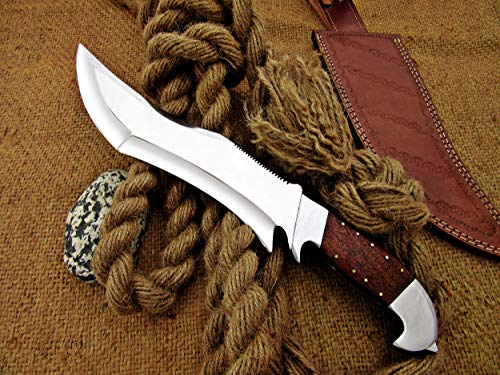 Generic Beautiful Custom Handmade Steel D2 15.5'' Hunting Bowie, Machete with Steel Bolster and Pure Leather