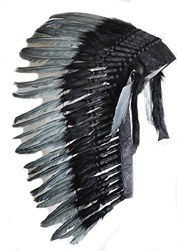 KARMABCN N83 - Native American Inspired Medium Black Feather Headdress (36 Inch Long)/War Bonnet...