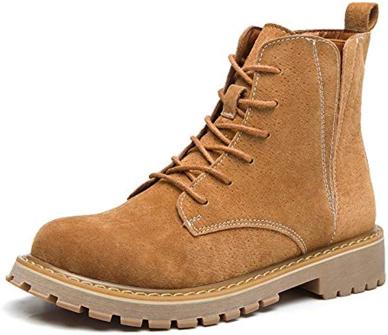 Top Shishang Leder Martin Stiefel Herbst und Winter Winter niedrige Ferse Damen Stiefel, gelb, 37  hohe Qualität echt