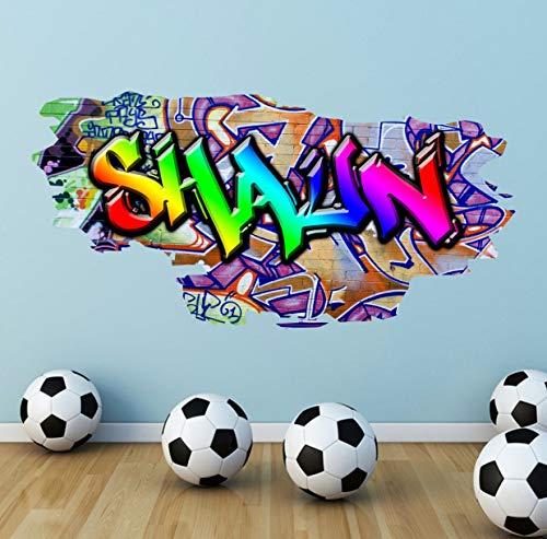 Personalisierte Graffiti Name Wandtattoos Farbige Wandkunst Aufkleber Transferdruck Mädchen Jungen Schlafzimmer Wandaufkleber Arbeit Büro Druck WSD169