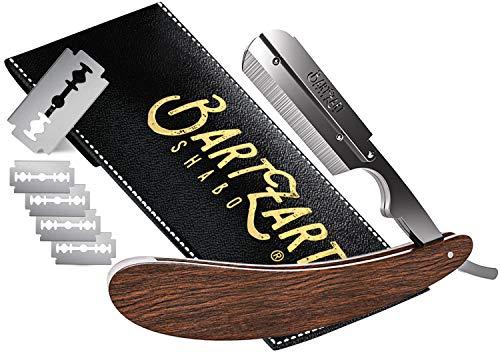 BartZart Rasiermesser mit Wechselklingen-System I Premium Rasiermesser Set mit Holzgriff inkl. Etui und Rasierklingen von Astra I Rasiermesser Herren I Bart Messer I Razor