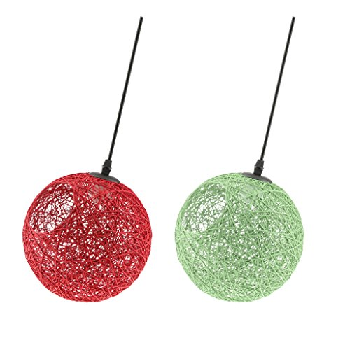 Homyl 2Pcs Lustre de Plafond Rotin avec Câble Suspension Abat-jour Facile à Installer pour Chambre 20cm Rouge / Vert