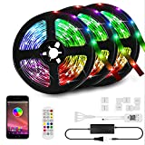50ft LED Strip Lights Kit, LED Tape Strips, Sync to Music , Smart RGB LED Strip Light with Remote, APP Bluetooth Control, Light Strips for Room, LED Lights for Bedroom Home Party Decoration(50ft)