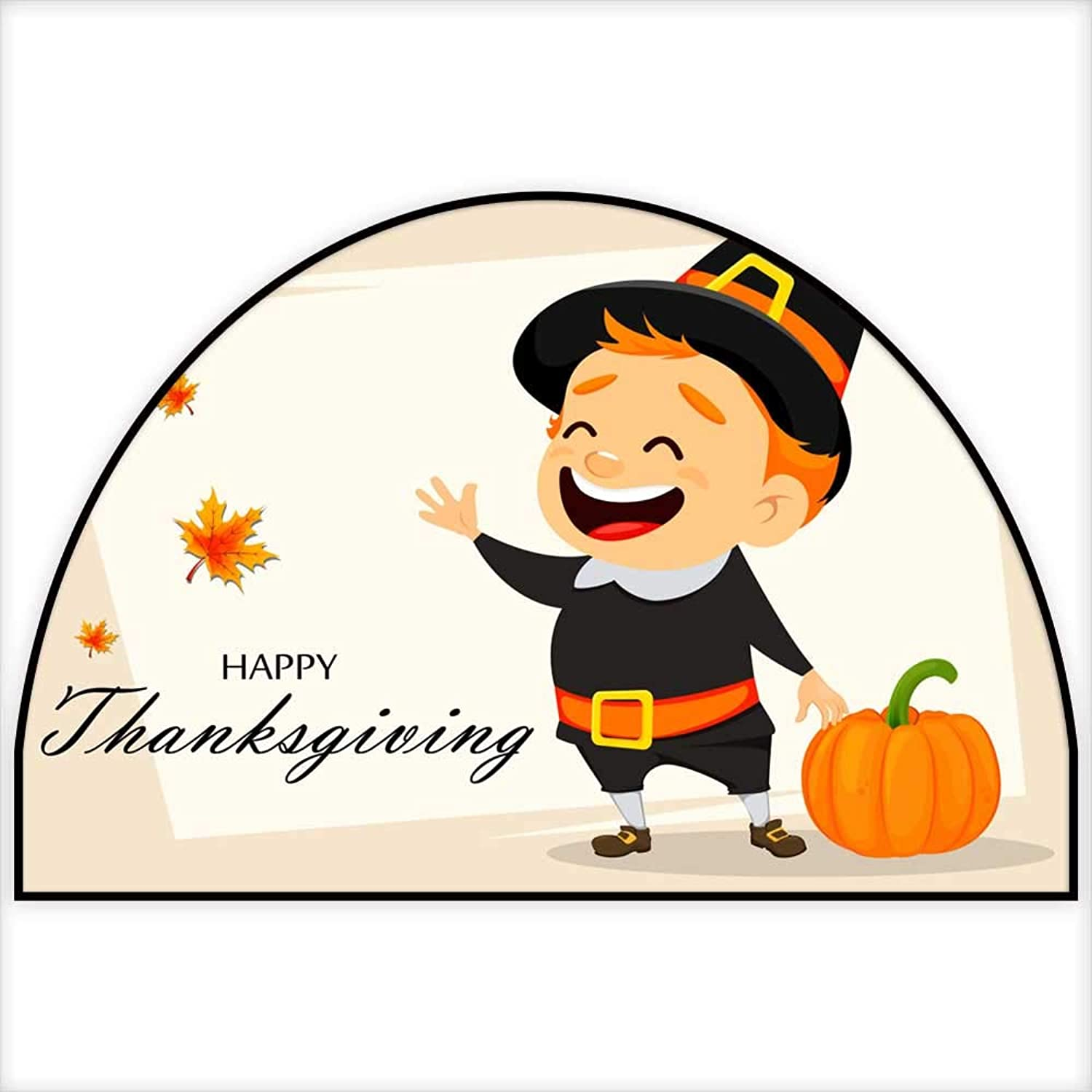 Semicircle Doormat Thanksgiving Greeting Card with Canadian Manh 51.1  xD 76.7