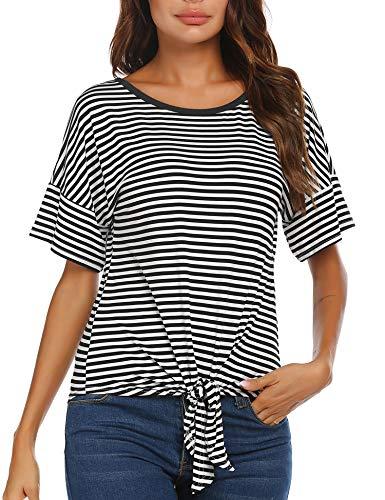Damen T-Shirt Streifen Tie up Bluse Kurzarm Tunika Sommer Belastbarkeit Top Casual Kreuz Oberteil Sexy Cross Rundhals Blusen (A-Schwarz, L)
