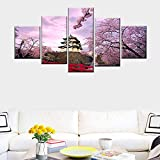 Rkmaster-Cartel De Lienzo Decoración Del Hogar Pintura Mural Pintura China Flores De Cerezo Arquitectura Japonesa Antigua 5 Paneles Cuadro Marco Pintura