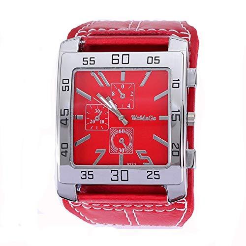Womage W087 mit drei Augen Dekorative Quadrat-Uhr echtes Leder-Band Unisex-beiläufige Uhr Red