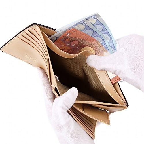 『[ラファエロ] ブライドルレザー 二つ折り財布 メンズ (チョコ)』の4枚目の画像