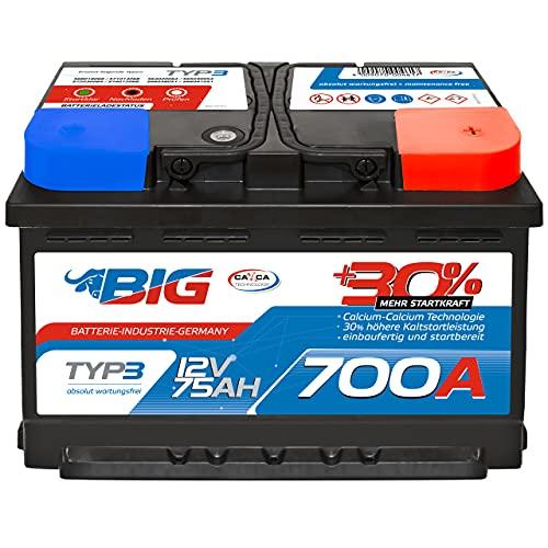 Autobatterie 12V 75 Ah 700A BIG Silber Plus 30{96d70b68caf104ed86c307b8d45f64cb516191e40c8f81c16678024524b88312} PKW Batterie statt 70Ah 72Ah 74Ah