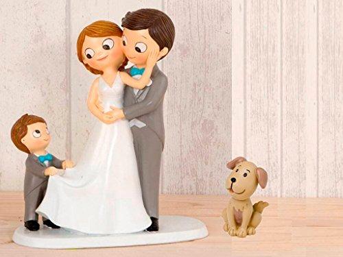Momparler1870 Figura novios tarta con niño llevando la cola de novia y mascota Perro