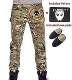 WorldShopping4U Hommes Paramilitaire Combat Pantalons Pantalon avec genouillères Multicam MC pour Tactique Militaire Armée Airsoft Paintball Large Multicam