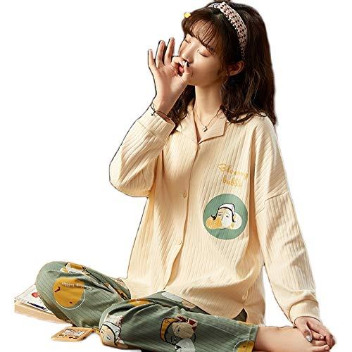 DFDLNL Ropa de Dormir para Mujer Conjuntos de Pijamas de Talla Grande Pijamas de algodón para Invierno Ropa de Dormir Camisón de otoño para Mujer Traje de Pijama Camisones M (40-50) kg