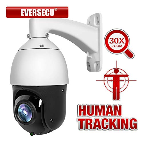 EVERSECU 1080p Auto Tracking 30x Zoom IP PoE PTZ CCTV Camera, RTSP for Online Streaming with Long Range Infrared Night Vision Outdoor high Speed Dome Security Camera