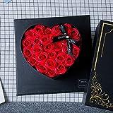 SXMY Caja de Regalo de Flor de Jabón Rosa en Forma de Corazón Regalo de Cumpleaños Creativo para Novia Regalos de San Valentín,001