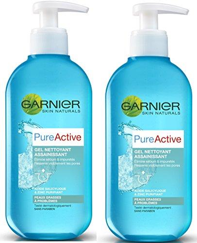 Garnier Skin Naturals - Pure Active - Nettoyant gel - Gel Nettoyant Assainissant - Lot de 2