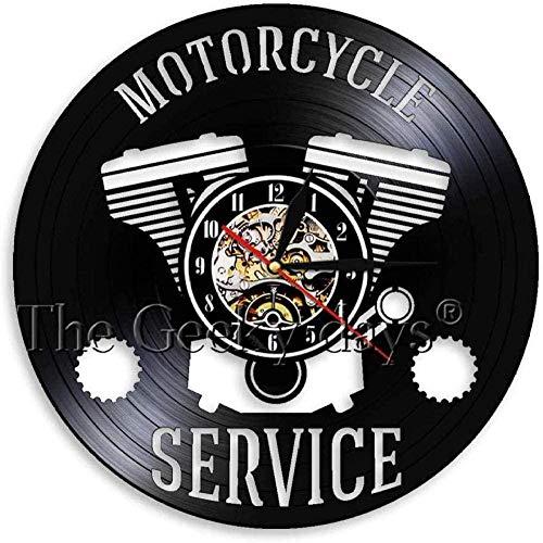 AGGG Reloj de Pared Ventilador de Motocicleta Reloj de Pared de Registro Antiguo Soporte de Pared para Taller de reparación de Motocicletas-Sin LED