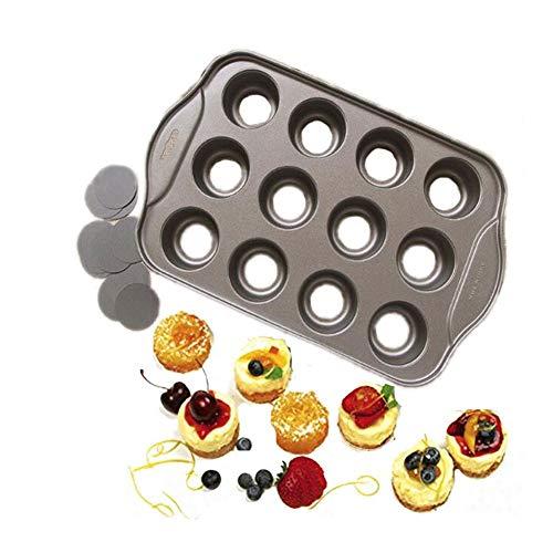 Muffins et boîtes à gâteaux et moules Gâteau au fromage antiadhésives Pan, 12 Coupe amovible en métal gâteau rond et petit gâteau et Muffin Four Moule forme for la cuisson des ustensiles de cuisson De