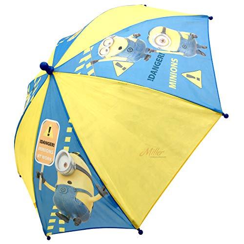 Minions Regenschirm für Kinder, Stockschirm, 65 cm, blau/gelb, Polyester