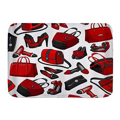 AoLismini Badematte Bad Teppiche, Mädchen Handtasche High Heel Schuhe Frau Mode, Plüsch Bad Dekor Matten mit rutschfesten Rücken