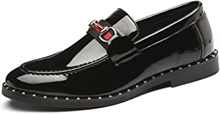 Men's Black Penny Loafers - Breathbale Leather Fashion Slip-on Dress Shoes & Pointed Toe Driving Loafers for Men