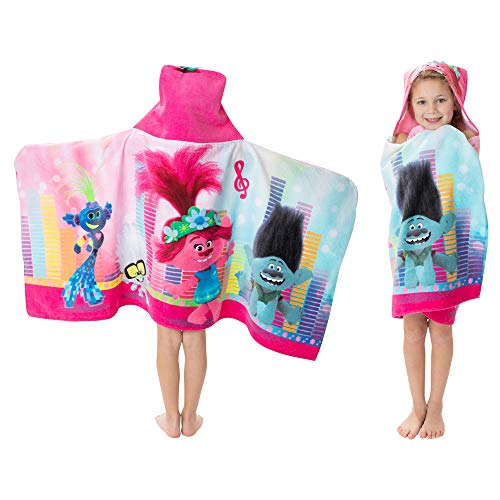 "Franco Kids Bath and Beach Soft Cotton Terry Hooded Towel Wrap, 24"" x 50"", Trolls World Tour"