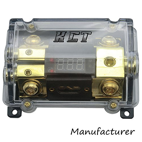 KCT Car Audio Digital Led Display Fuse Holder ANL Include 2 Fuses Distribution Block 1 Way in 2 Way Out