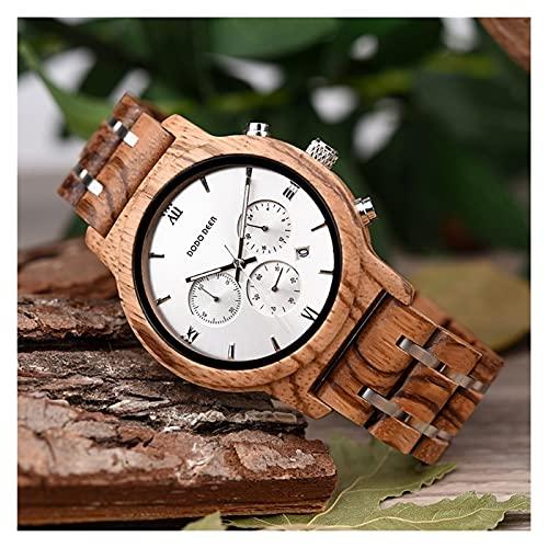 yuyan Reloj de Madera para Hombres Zebra Madera Hecha a Mano de Madera Natural La combinación de tecnología y Naturaleza Deportes Movimiento de Cuarzo japonés Reloj