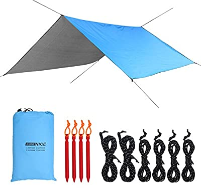 WoneNice 10 x 13 Ft Camping Hammock Tarp, Waterproof Windproof Lightweight Durable Rainfly Shelter. Perfect Tent Tarp for Backpacking, Hiking, and Travel (Sky Blue)