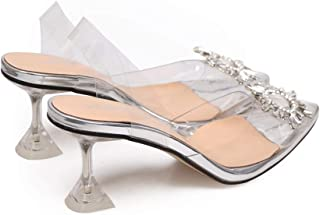 Women Sandals Clear High Heels Sandals Transparent PVC Slip On Sexy Shoes Women Pointed Toe Wedding Party Summer Pumps Shoes
