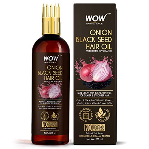 WOW Skin Science Onion Black Seed Hair Oil – WITH COMB APPLICATOR – Controls Hair Fall – NO Mineral Oil, Silicones, Cooking Oil & Synthetic Fragrance – 200mL