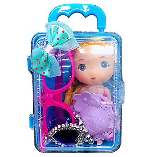 Fansport Doll Suitcase Set with Doll Accessories Plastic Trolley Rolling Suitcase Traveling Case Best Gift for Girls