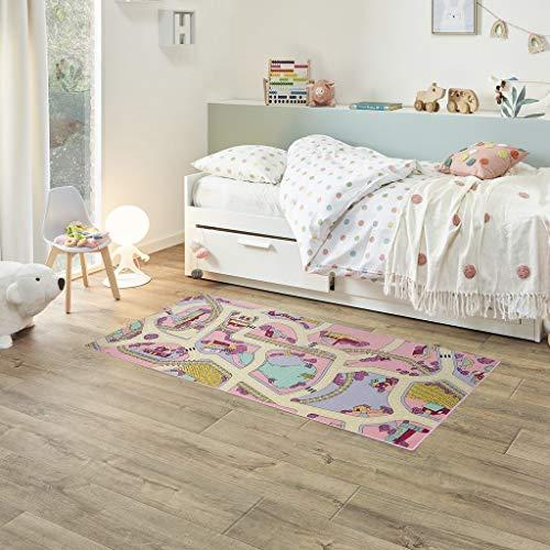 Fabriq Alfombra de juego para niños y niñas, antideslizante, para habitación infantil y de juegos, lavable a 30 °C, 95 x 200 cm, color rosa y arena