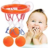 Kaimeilai Juguete de agua para bañera, juguete de baño divertido para el baño, Canasta de baloncesto y juego pelota de goma para niños pequeños, Con 3 pelotas de baloncesto, 2 ventosas fuertes