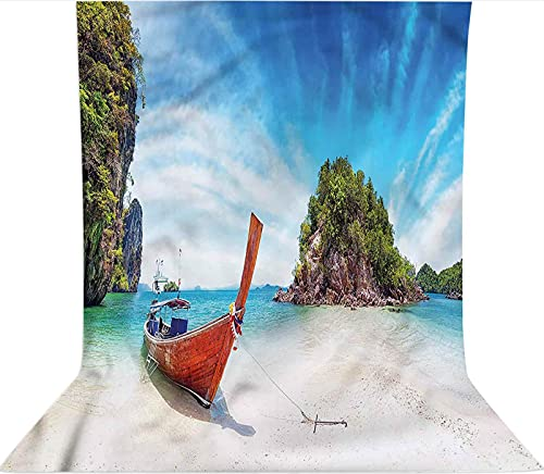 Fondo de telón de fondo de 3 x 5 pies, decoración exótica de Tailandia de playa telón de fondo de tela de microfibra, pantalla plegable de alta densidad para fotografía de vídeo y televisión