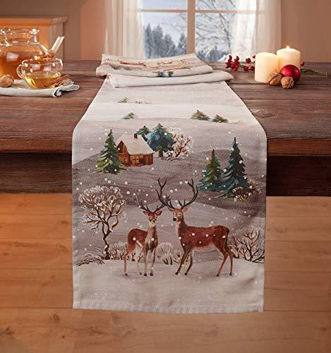 Dekoleidenschaft Adventstischläufer Winterwäldchen beige, 30 x 150 cm, Tischläufer, Tischband