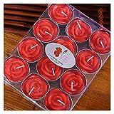 Broccoli21 Velas 12pcs / Caja Vela sin Humo Vela romántica Velas de Boda decoración de Vacaciones patrón de Rosa aromaterapia pequeña té Fragancia de Cera Velas perfumadas (Color : Red 12 per Box)