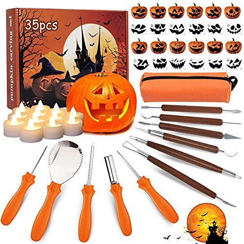 35 PCS Halloween Pumpkin Carving Kit for Kids Adults, Professional Pumpkin Cutting Supplies Knife Set Stainless Pumpkin Carving Tools Kit with Stencils & Light Up Candles DIY Halloween Decoration