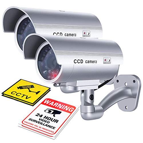 Flexzion Dummy Beveiligingscamera (2 Pack) Buiten Nep CCTV Surveillance Bullet Camera Systeem met Stickers, LED, Gesimuleerde IR, Muur Gemonteerd voor Eigendom Bedrijfsveiligheid Buiten/Binnen