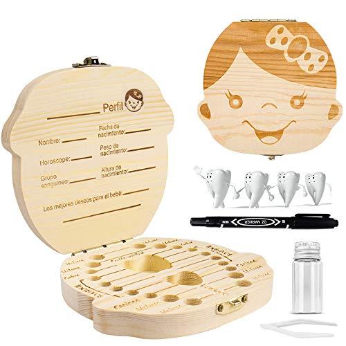 GVOO Caja de Dientes para Niños,Cajitas para Dientes de Leche,Caja de Madera para Guardar Dientes(Niña)