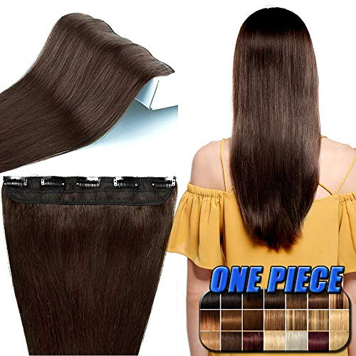 Extension a Clip Cheveux Naturels Raide #2 CHATAIN FONCE - Une Seule Bande - Grade 7A Remy Hair - Clip in Human Hair Extension - 50CM 50G
