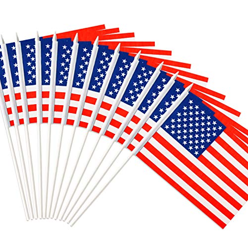 Anley USA United States Mini Flag 12 Pack - Hand Held Small Miniature American US Flags on Stick - Fade Resistant & Vivid Colors - 5x8 Inch with Solid Pole & Spear Top