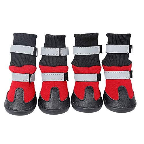 MoreChioce Chaussures Chien Impermeable,Hiver Bottes Chien Anti Slip Neige Bottes pour Animaux et Chiens,XL,Rouge