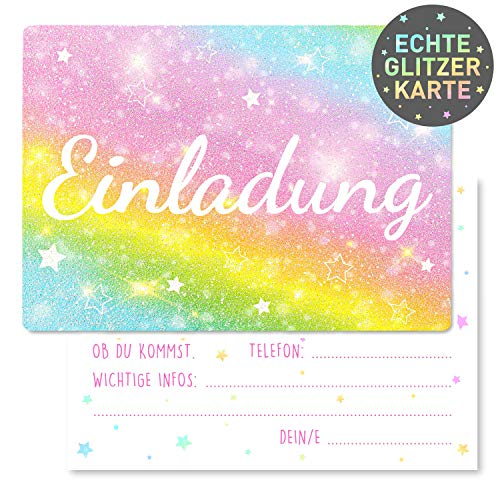 15 x Einladungskarten Kindergeburtstag Regenbogen Glitzer - Größe A6 - Coole Einladung zum Geburtstag für Mädchen und Jungen - Witzige Kinder Einladungskarte - Rainbow