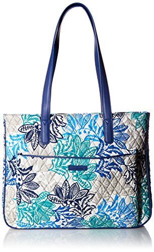 Vera Bradley Signature Cotton Commuter Tote Bag, Santiago with Navy