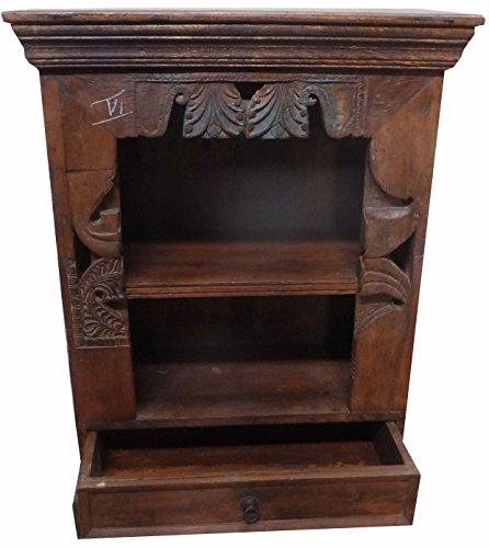 Guru-Shop Nachtkastje, Nachtkastje, Ladenkastje, Massief Hout, Koloniale Stijl, India, Groen, 92x68x36 cm, Kleine Kasten