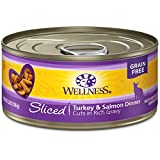 Wellness Natural Pet Food Complete Health Natural Grain Free Wet Canned Cat Food, Sliced Turkey & Salmon Entree, 5.5-Ounce Can (Pack of 24) (2689)