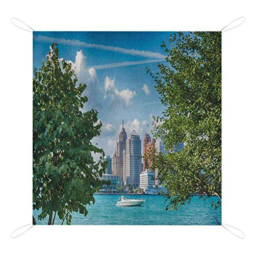 Review Nomorer Detroit Beach Mat, Detroit Sightseeing on a Summer Afternoon Modern Architecture Rive...
