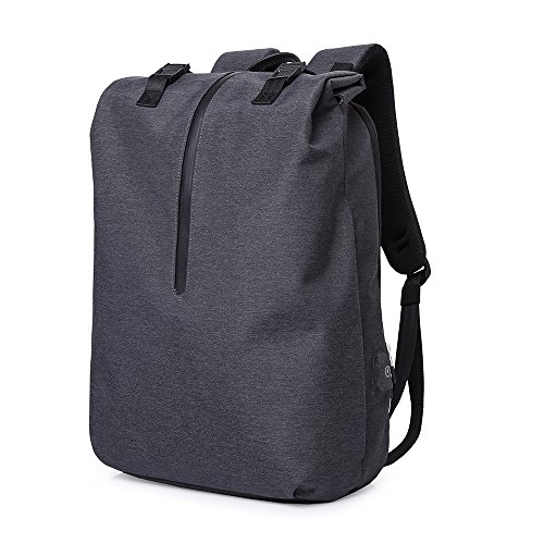 """Large Travel Computer Backpack, Roll-Top Laptop Backpack, Multipurpose, Anti-Thief, Water Proof, College School Book-Bag, Business Backpack with USB Charging Port Fits 15.6"""" Notebook Black"""